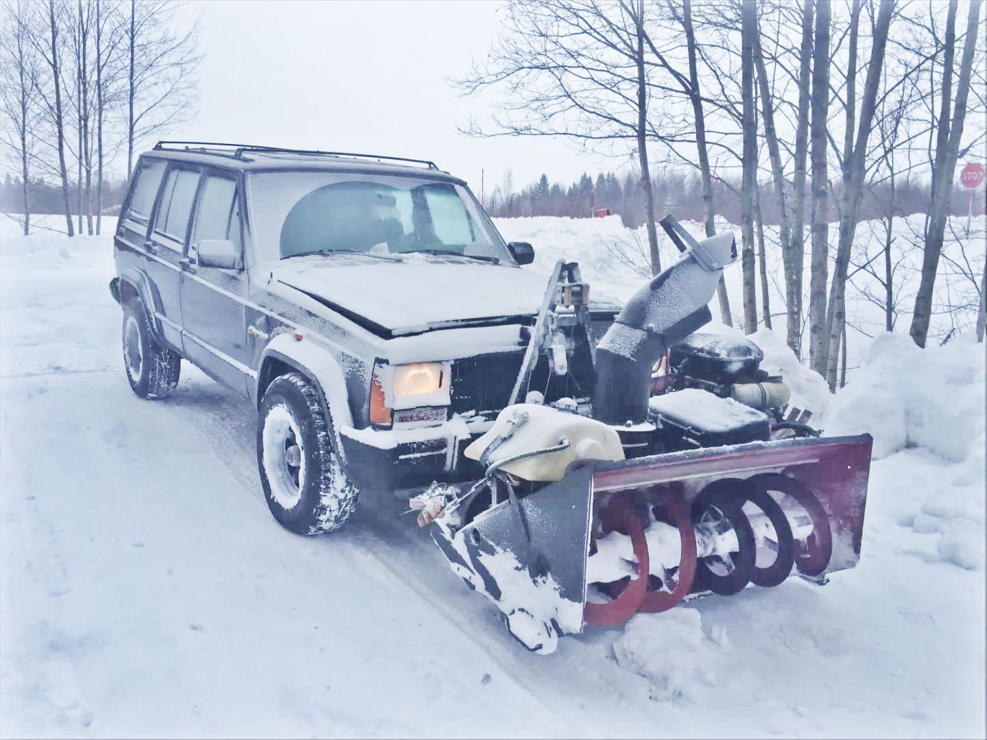 Jeep Cherokee Featuring Snow blower with Kawasaki Ninja engine
